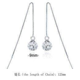 trending earrings UK - high quality jewelry 925 sterling silver 9 mm round ball Geometric long chain earrings 2016 fashion hot trending design low prices wholesale