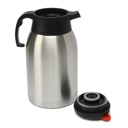 drinking water pots UK - 2L Large Capacity Double Layer Jug Vacuum Insulated Stainless Water Bottle Thermal Coffee Pot Flask Home Meeting Room Drinkware
