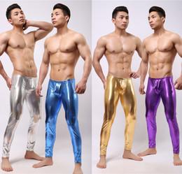Show Leggings Canada - Wholesale-2016 man comfortable brand show stage performance tight elastic pants bright color leather silver gold blue long Toning Leggings