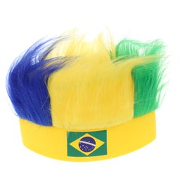 Character Wigs NZ - 16 Country Flag Football Soccer Fans Wig Head Cap European Cup World Cup Sports Carnival Festival Cosplay Costume