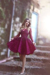 $enCountryForm.capitalKeyWord Canada - Cheap 2016 Short Cocktail Dresses Illusion Neck Long Sleeves Lace Appliques Beaded Burgundy Evening Wear Prom Party Dress Homecoming Gowns