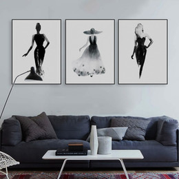 $enCountryForm.capitalKeyWord NZ - Modern Nordic Black White Fashion Model Large Canvas A4 Art Print Poster Wall Picture Painting Beauty Girl Room Home Decor No Frame