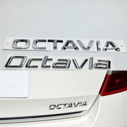 Chrome Auto Emblem Decal Canada - 3D Car Silver Decal For Skoda Octavia Badge Emblem ABS Chrome Logo Auto Rear Trunk Sticker