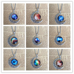 $enCountryForm.capitalKeyWord Canada - Mix wholesale-New fashion women Vintage starry star Moon Outer space Universe Gemstone Pendant Necklaces 12 styles B0145