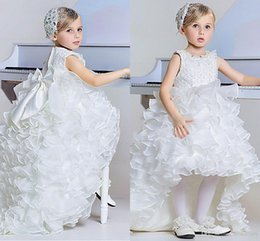 pink children skirts 2019 - 2017 New Fashion Flower Girls Dress Jewel Neck Tiered Big Bow Knot Hi-lo Skirt Girl's Pageant Dresses For Wedding P