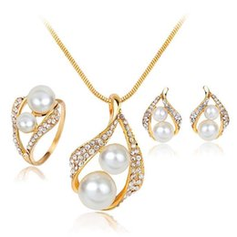 mother bride jewelry 2019 - New Crystal Double Pearl Jewelry Sets for Wedding Brides Bridesmail Gold Plated Necklaces Earrings Rings Women Fashion J