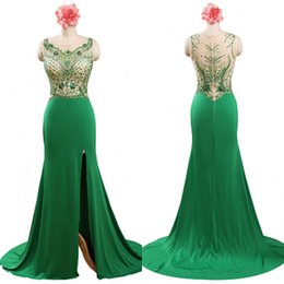 emerald green tops Australia - Sparkly Evening Dressess Emerald Green Formal Dresses Evening Wear Mermaid Illusion Top Crystals Beading Evening Gowns Sweep Train
