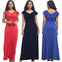 plus size dress code NZ - sexy, fashion, noble, youth, beautiful, big code Dresses Plus Size Solid color V-Neck Short Sleeve F3P510