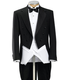 double breasted blue jacket mens UK - Black Mens Morning Suits Double Breasted Groom Tuxedos With Long Train Tailcoat Best Man Magician Performance Wears(Jacket+Pants+Vest+Bow)