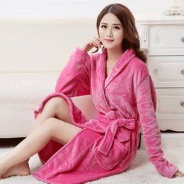 696cb5df79 Wholesale- Bath Robe Female Lovers Coral Fleece 5 Colors Night Gown Spa  Bathrobe Unisex Bath Robe Women Long Sleeve Kimono Womens Gowns