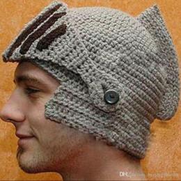 6e8d5cf1c73 Fashion Keep Warm Men Unisex Roman Knight Helmet Caps Cool Handmade Knit  Ski Hat Winter Hats Gorro Funny Party Ski Mask Beanies