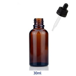 China Factory Price E Juice 30ml Pure Amber Glass Bottles with Glass Dropper Dripper Brown Bottles for E Liquid with black white ChildProof Caps suppliers