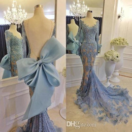 Barato Vestido Da Curva Da Parte Traseira Do Chiffon-2017 Sky Blue Mermaid Dresses Evening Wear Lace Luxo Long Sleeves Vestidos Formal Backless Vestidos Festa Com Big Bow Back