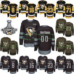 Custom Mens Womens Kids 2017-2018 New Logo Pittsburgh Penguins 8 Mark  Recchi 16 Eric Fehr 23 Scott Wilson 71 Evgeni Malkin Jerseys 1909b4681