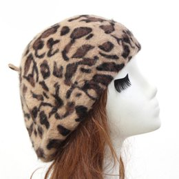 Discount angora hats - Fashion women Leopard Beret Hat Rabbit Fur Angora Leopard Beret Hats Ladies Beanie Hat Cap Autumn Winter Hats Female