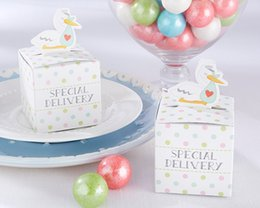 $enCountryForm.capitalKeyWord Canada - (100pcs lot) Baby Shower Gift box of Little Special Delivery Stork Baby Favor Box for baby candy box and baby birthday favor