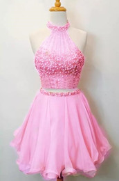 $enCountryForm.capitalKeyWord Australia - Beaded Crystals Ball Gown Fit & Flare Halter Short   Mini Satin Cocktail Party Dress with Two Pieces