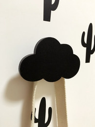 Toy Furniture Wholesale NZ - Kids Cloud Shaped Wooden Hook Ins Nordic Style Children Home Wall Decoration Art 3D Furniture Sticker Hanger 3Colors choose
