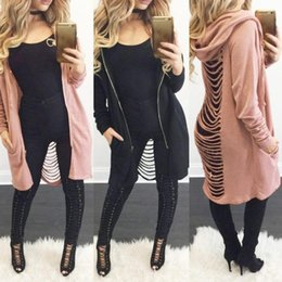 women hooded vest spring Australia - Spring Jackets Women Basic Casual Coats Sexy Long Sleeve Hollow Out Cashmere Hole Hooded Jacket Irregular Wool Blends Coat C1