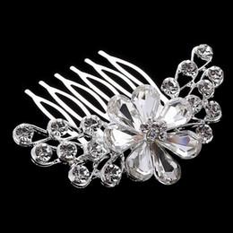 Meilleure offre Luxe coiffe de mariée en cristal Robe de mariée Accessoires de mariée bijoux de cheveux vrystal fleur peigne de cheveux prix de gros DHF803 en Solde