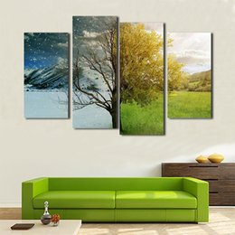 tree scenery paintings UK - 4 Panel modern HD print painting on canvas four season tree abstract scenery painting wall art pictures home decoration