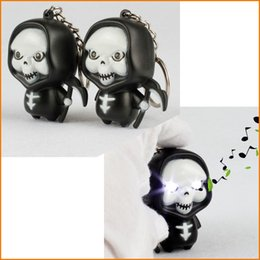 Skull Kid Figure Canada - Cute And Funny!! LED Halloween Ghost Death Skull Action Figure Toys With Sound Keychain flashlight key ring Kids Gifts