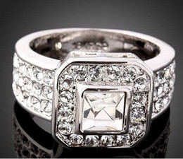 Superieur Vintage Party Ring Wedding Rings Wholesale Brand New High Qulity 925  Sterling Silver White Gold Plated 1CT Swiss Diamond Ring