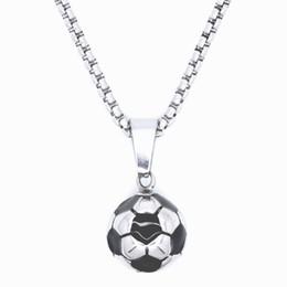 Punk Retro Jewelry 100% collar de acero inoxidable fútbol colgante fútbol  negro esmalte Rolo cadena 20