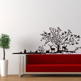bird design wallpaper NZ - The Jungle Animals Hand Calligraph Wall Sticker Birds Rabbits Deer Large Tree Wallpaper Poster Living Room Bedroom Removable Wall Graphic