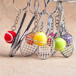 Wholesale Sports Bottle Openers Canada - Free DHL Mini Tennis Keychain Sports Style Key Chains Zinc Alloy Keychains Car Keyring Kids Toy Novel Birthday Gift E864L