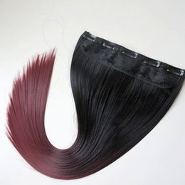 $enCountryForm.capitalKeyWord NZ - Clip in Ponytail synthetic Straight hair 120g 22inch ombre 1B&burgundy two colors hair extensions hot sale
