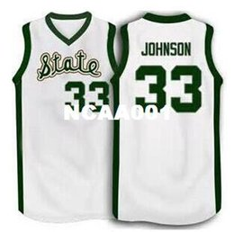 Chinese  Men# 33 Magic Johnson Michigan State Spartans College Jersey Green, White Stitching, name and number, any sizes manufacturers