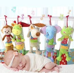 Hanging Monkeys Toy Canada - New Design Animal Handbells Rattles frog giraffe dog monkey elephant car bed Infants plush newborn baby kids Soft Hanging Toys