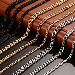 Neue männer kette halskette 24/30 zoll lange halskette 3/5/7mm breite halskette für männer titanium stahl gliederkette halsketten männer im Angebot