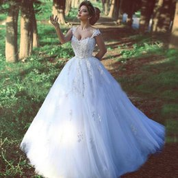 empire lace applique dress Australia - A Line Empire Tulle Long Tiered Skirts Garden Wedding Dresses Ball Gown Applique Lace Bridal Gowns