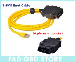 (20 PIEZAS) 2016 Nueva llegada para B-M-W ENET (Ethernet a OBD) Cable de interfaz E-SYS ICOM codificación F-Series envío libre de DHL en venta