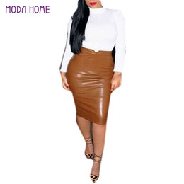cae457a90098 XXL Hot Sale Women Soft PU Leather Skirt High Waist Slim Hip Pencil Skirts  Vintage Bodycon OL Midi Skirt Sexy Clubwear Plus Size