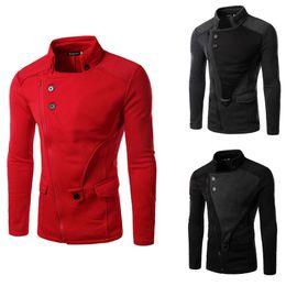 Fashion Jackets NZ - Wholesale- Autumn Winter 2017 Hot Down Coat Jacket Men Fashion Brand Jacket Joat Stitching Oblique Zipper Washed Mens Autumn Jacket