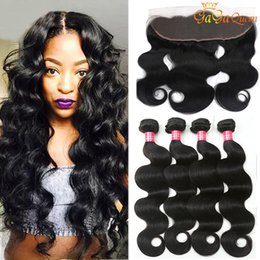 ExtEnsion online shopping - 4x13 Lace Frontal With Bundles Body Wave Brazilian Body Wave Human Hair Extensions With Ear to Ear Lace Frontal Closure Brazilian Hair