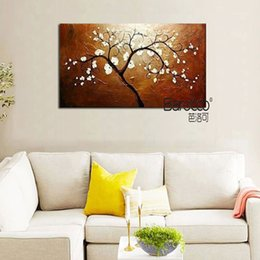 Shop simple flower oil painting uk simple flower oil painting free hand painted landscape oil painting on canvas white flowers tree painting modern simple style wall decoration home living room mightylinksfo