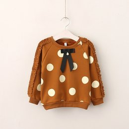 Arc Décontracté Pour Enfants Pas Cher-Baby Girls Dots Fleece Kids Girls Ruffles Bow T-shirts Girls Fashion Casual Jumper Tees 2017 Baby Autumn Clothes