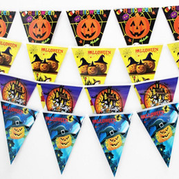 spooky halloween decoration paper triangle flag pennant banner carnival garland skull bat ghost spider scary clubing bar shop party decor cheap spooky - Discount Halloween Decorations