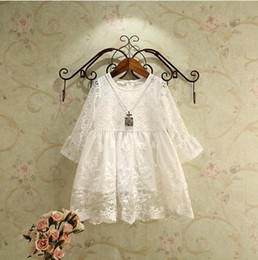 Princess One Piece White Dress Canada - New 2016 Baby Girls long Flare sleeve white Sweet Princess party Dresses Fashion autunm Children spring dress one piece hollow lace dresses
