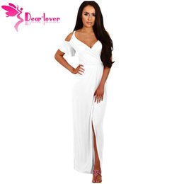 Largas Túnicas De Verano Damas Baratos-Estimado Amante Vestidos Largos Sexy Ladies Summer Cobalto Azul Cold Shoulder Slit Jersey Maxi Dress Vestidos Robes Longue Femme LC61546 q1113