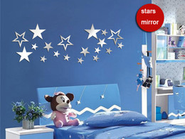 shine papers 2018 - Art explosion models mirror DIY wall stickers children shining star pattern paper new 2016 European and American fashion