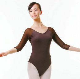 Barato Barato Adulto Roupas Sexy-Adult Ballet Practice Clothing 3/4 Sleeve Sexy Dedicated Teachers E estudantes Ballet Dance Costume 2016 Cheap Ballet Leotard