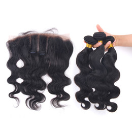Lace Frontal Cheap Bundles UK - Hot Sale Body Wave Human Hair Bundles With Lace Frontal 4pcs lot Free Part Ear to Ear Lace Frontal With Bundles Cheap Price