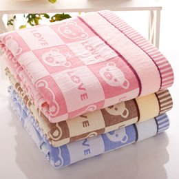 Yellow Blue Box NZ - 2016 Free Shipping Pure Cotton Towels Thick Pale Yellow Sky Blue Pink Bath Towel Manufacturers, Wholesale Cotton Towels Bear Box HY1238