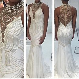 $enCountryForm.capitalKeyWord NZ - Pearls Beading Jewel Mermaid Sleeveless White Sexy Major Beading Evening Dresses Evening Gown Prom Vintage Custom Made