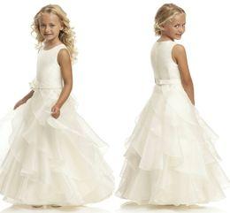China Hot Sale A Line Scoop Ivory Organza Belt Flower Girl Dresses Floor Length Flower Belt Flower Girl Dresses For Wedding HY1282 suppliers